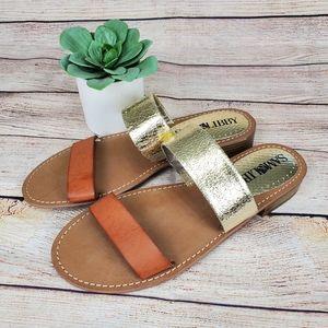 Sam & Libby Toni Slide Sandals Gold Brown Size 8